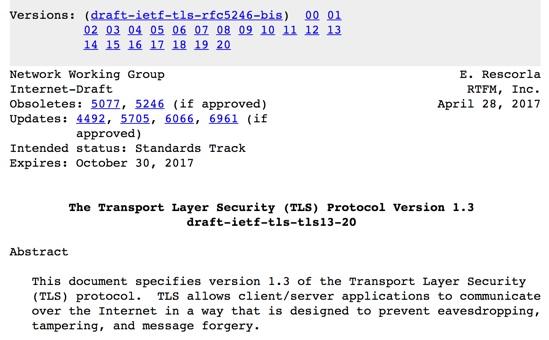 TLS 1.3 Protocol RFC